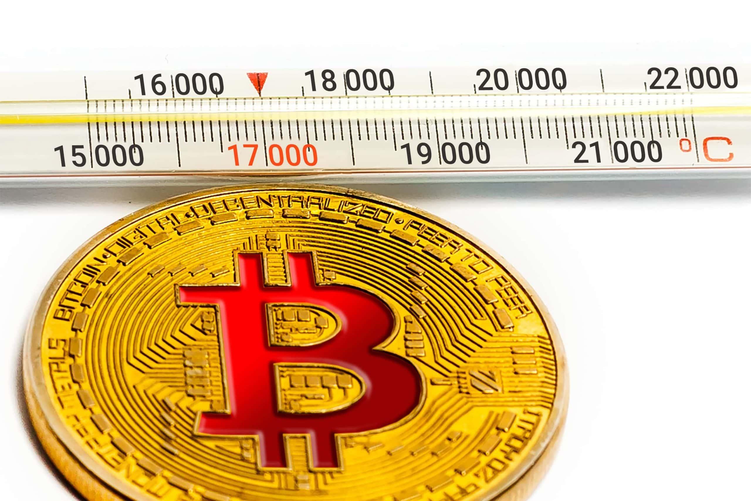 Bitcoin Münze mit 17.000 USD Marke