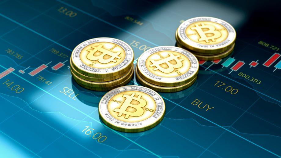 Bitcoin Münze auf Trading App
