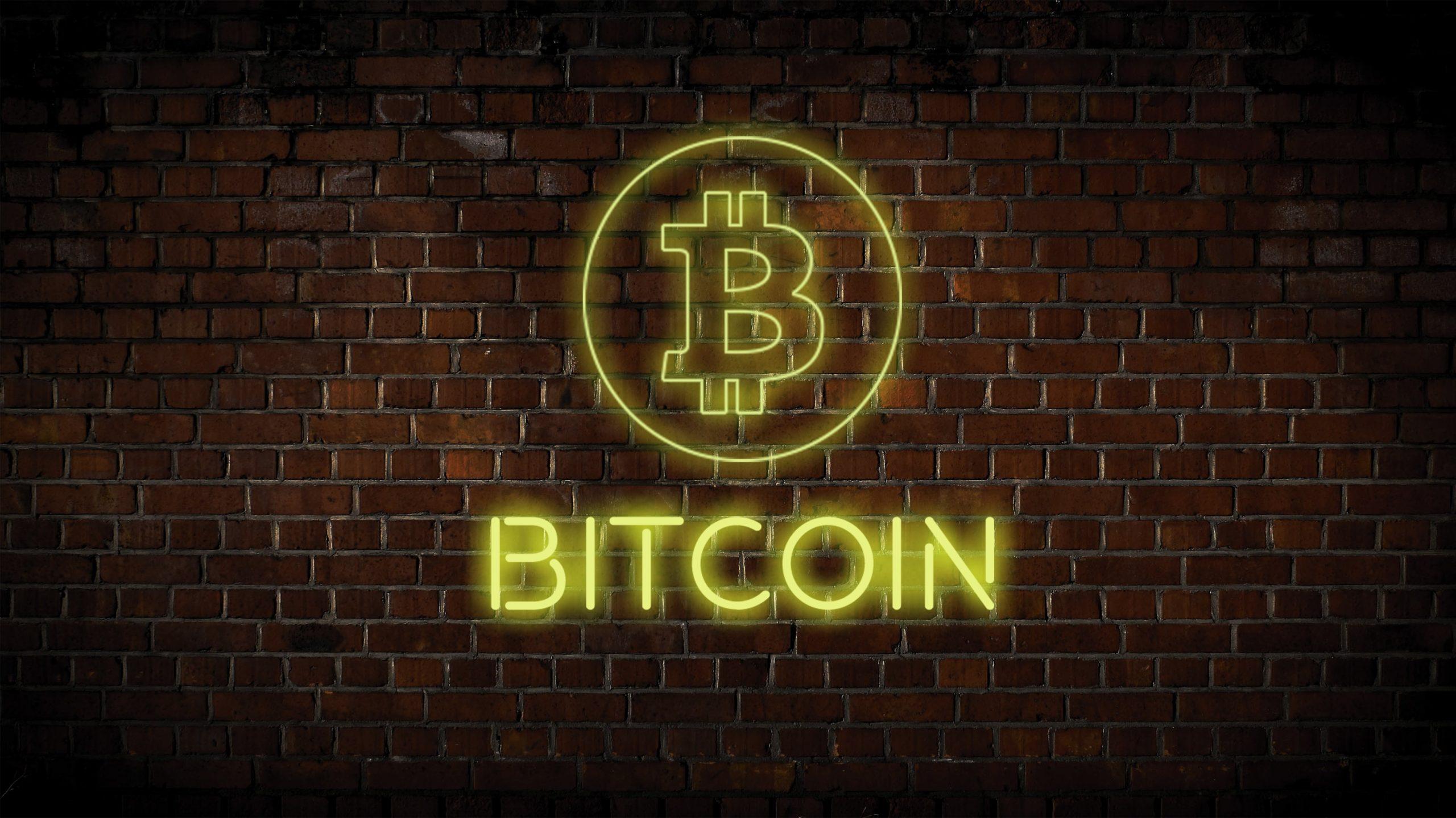 Gelbes Bitcoin-Wandlicht