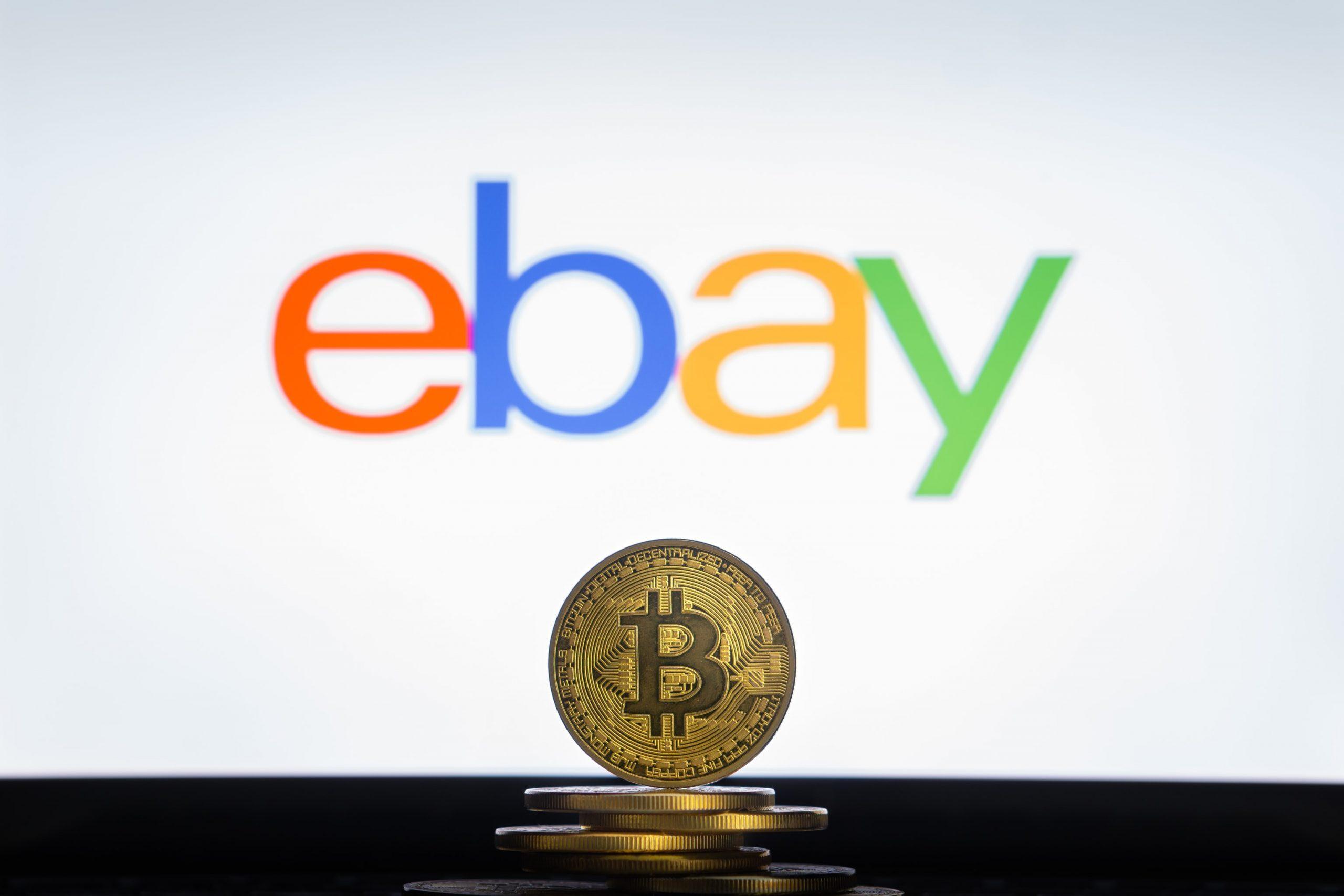 Ebay Logo mit Bitcoin Münze