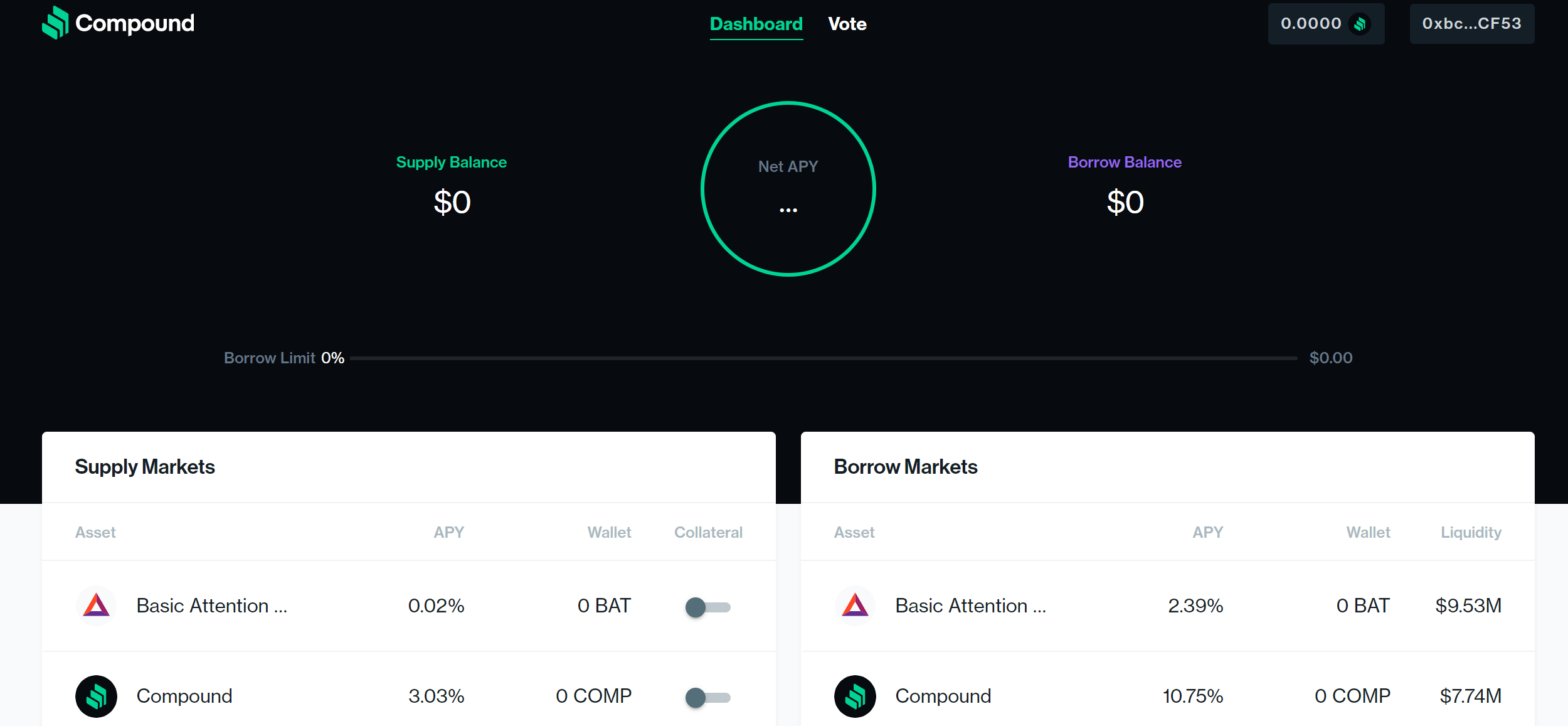 DeFi-Projekt: Compound Dashboard
