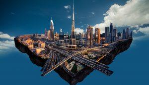 Skyline von Dubai, die in den Wolken schwebt (Grafik)