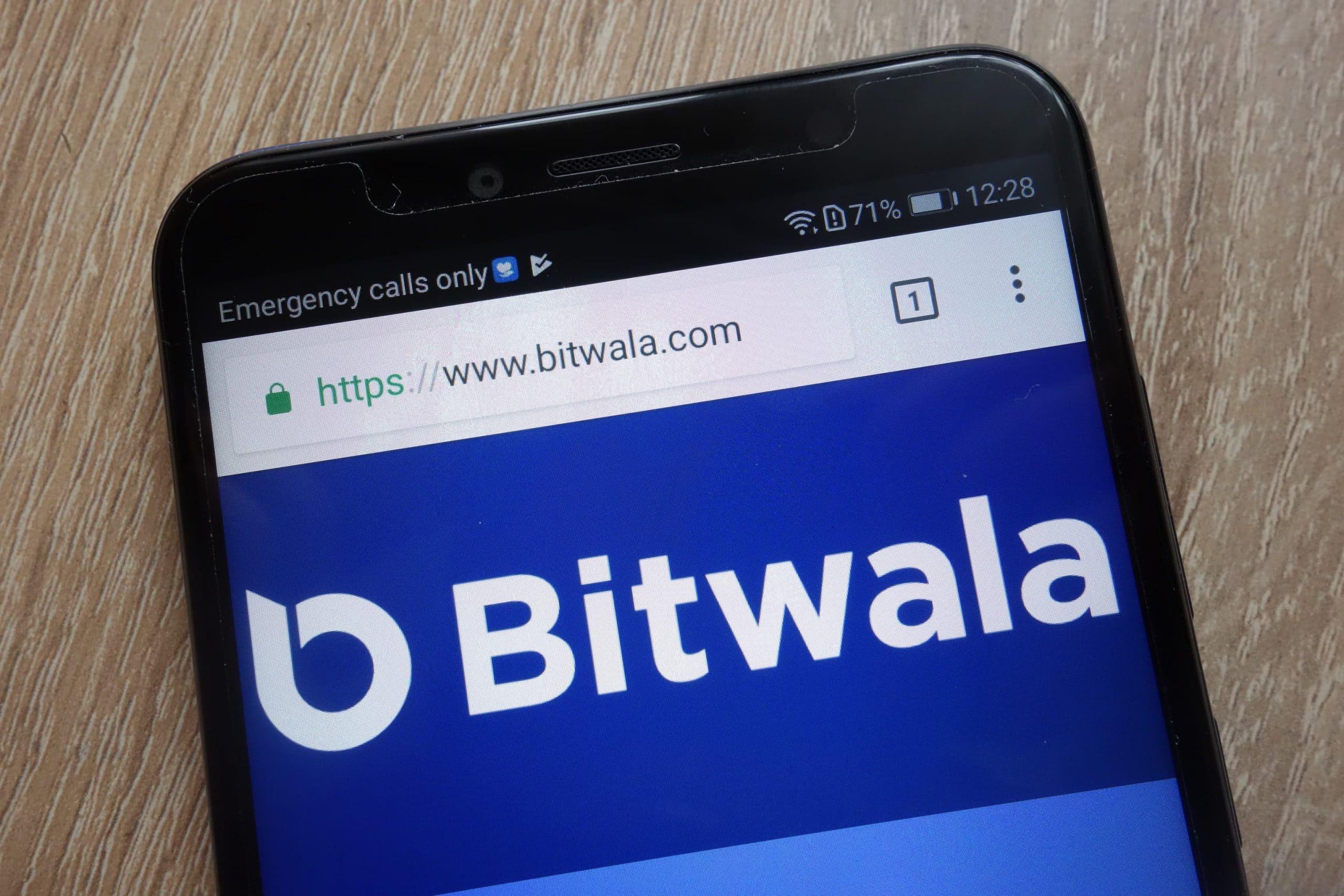 Bitwala auf einem schwarzen Smartphone