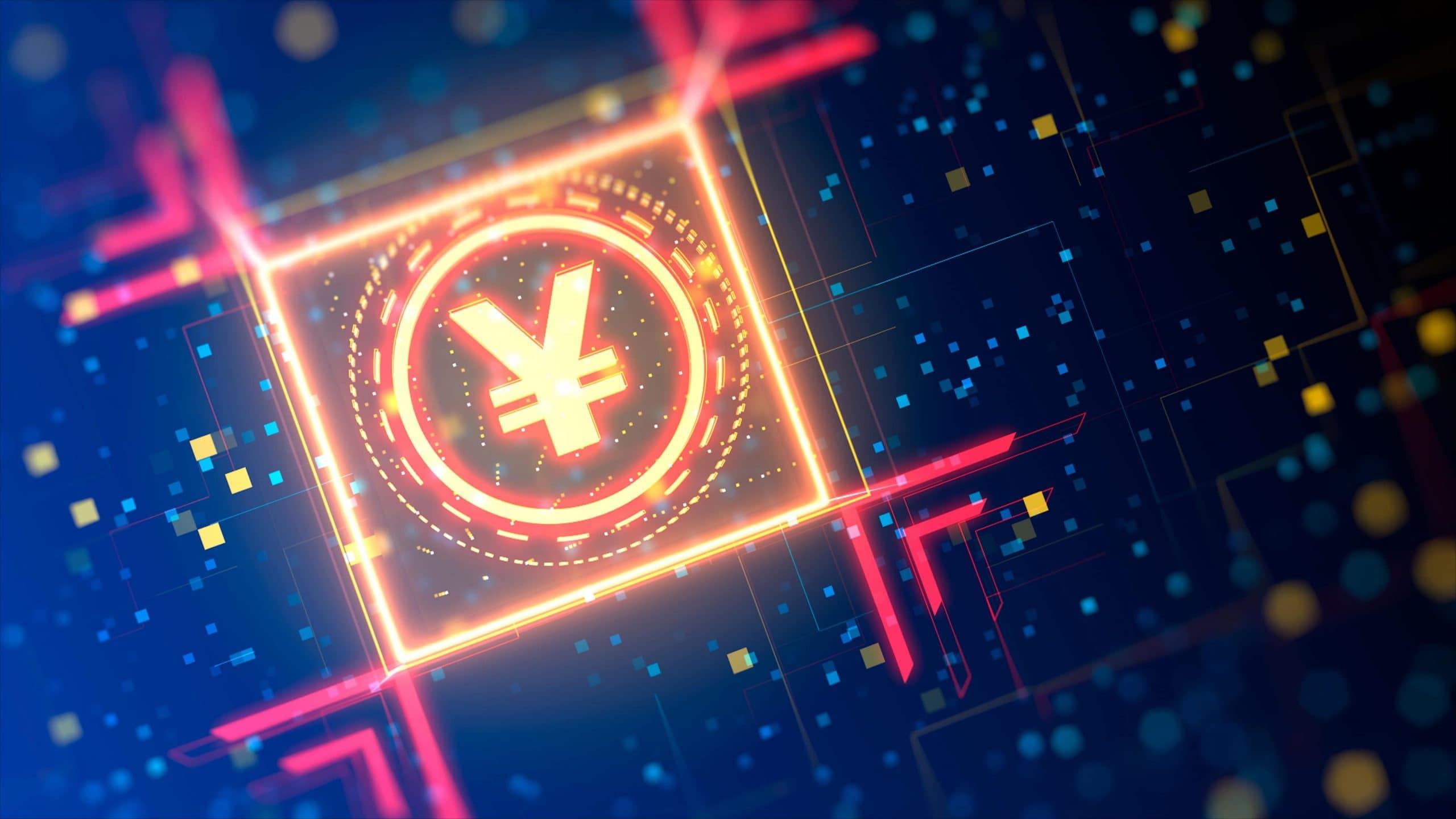 Yuan r Währungszeichen auf abstraktem digitalem Hintergrund