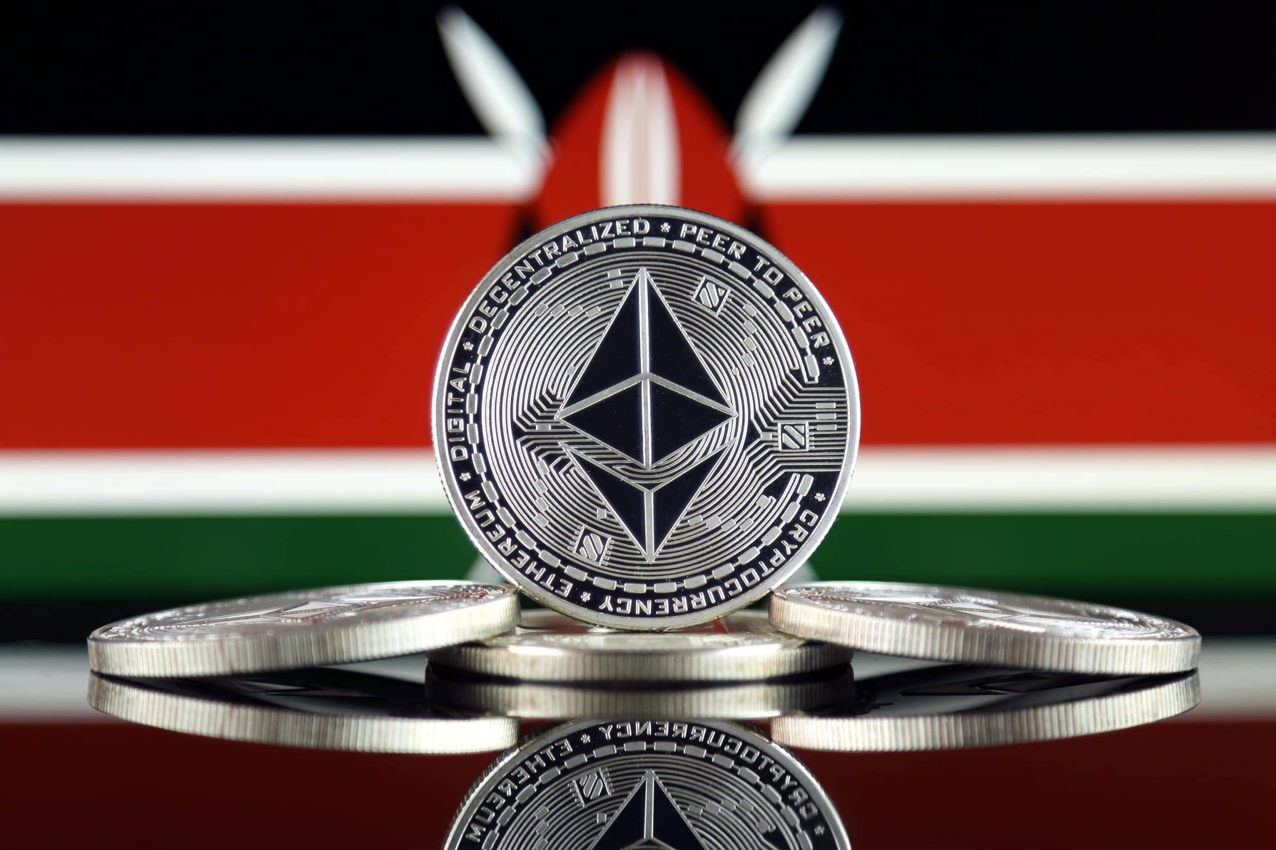 Ethreum Münzen vor der Flagge von Kenia