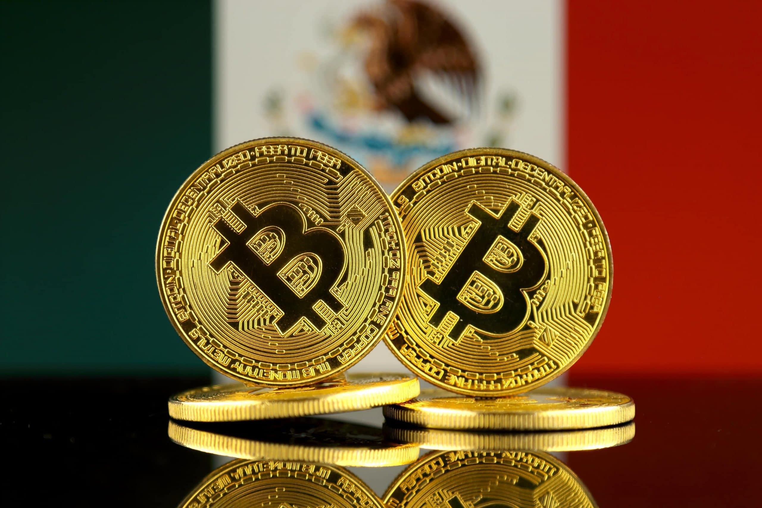 Bitcoins vor mexikanischer Flage