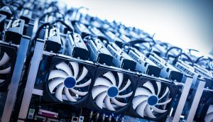 Bitcooin Miner in blau Bitmain