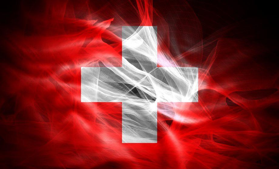 Schweizer Nationalflaffe mit schwarzem Hintergund