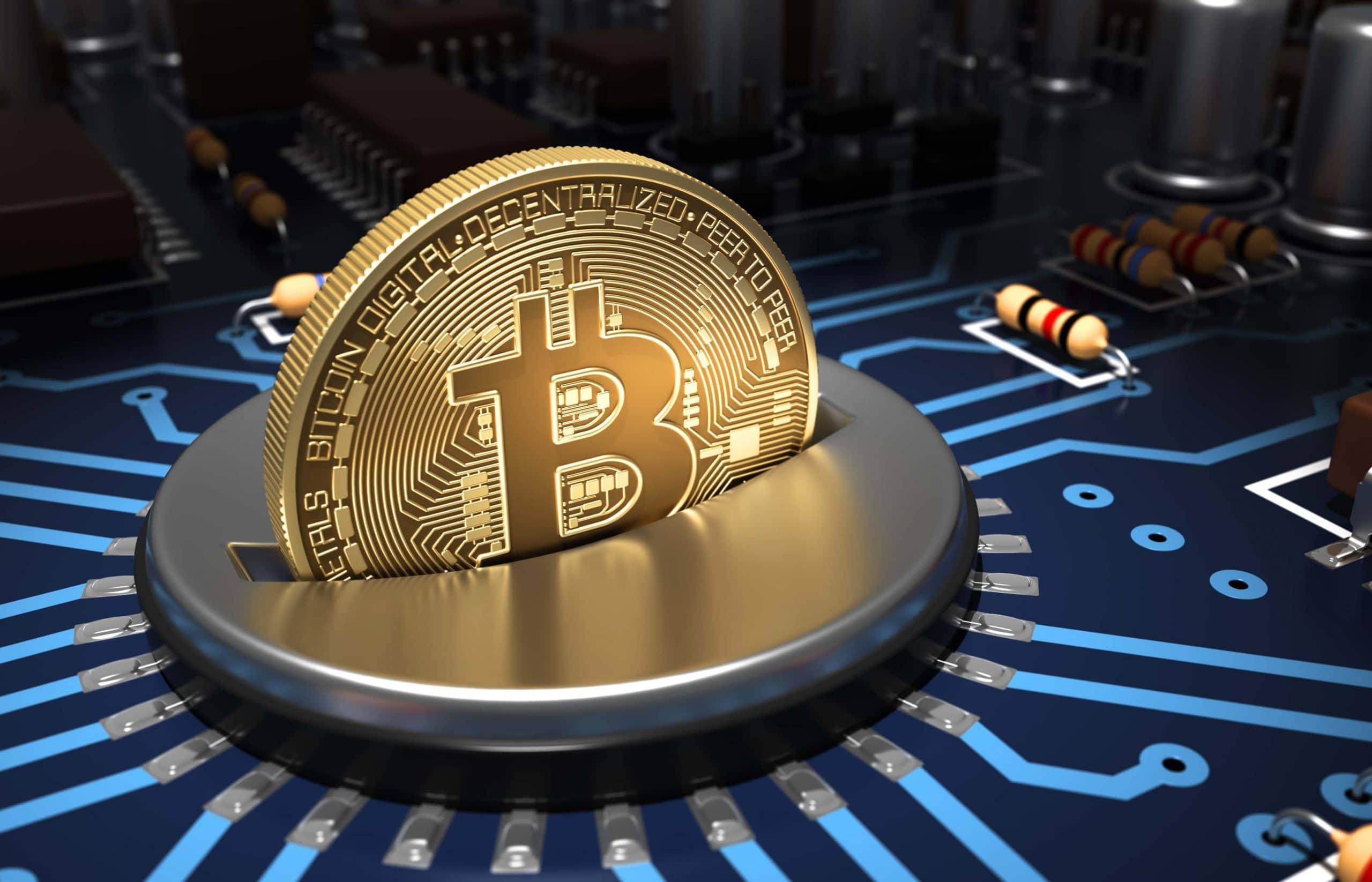 Bitcoin-Münze in einem Computerchip