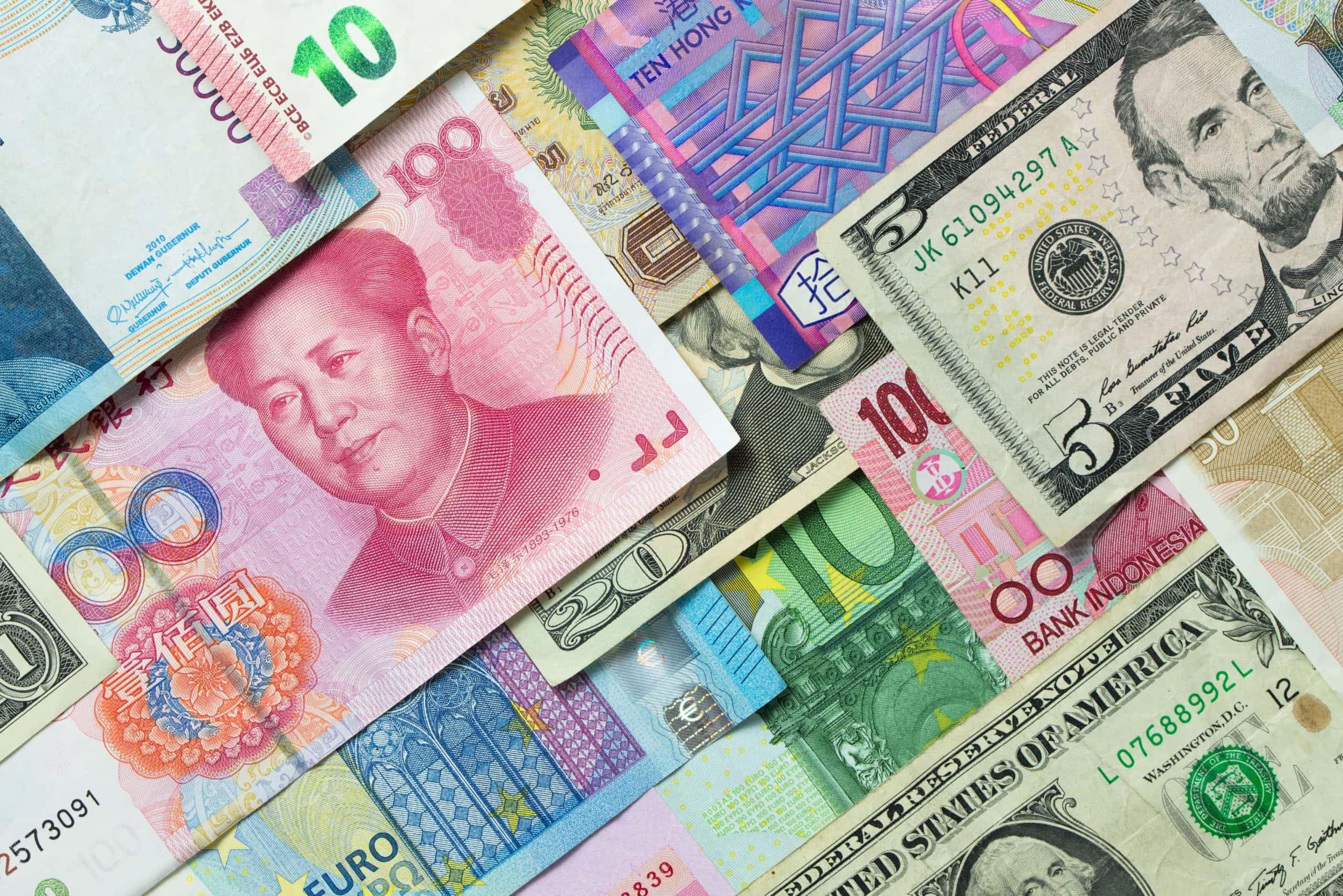Währungen wie US-Dollar, Euro und Yuan
