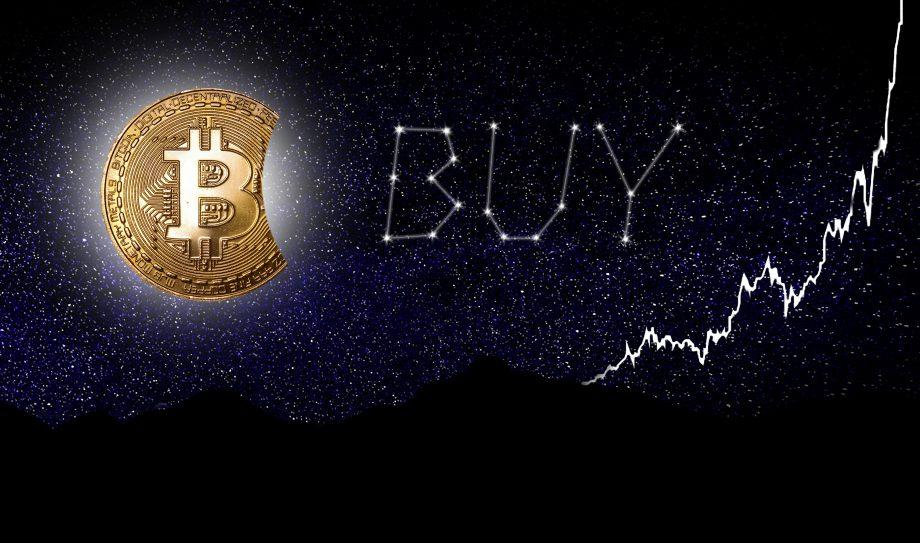 Aufgehender Bitcoin-Mond, Sternzeichen in BUY-Konstellation und ein parabolisch steigender Chart