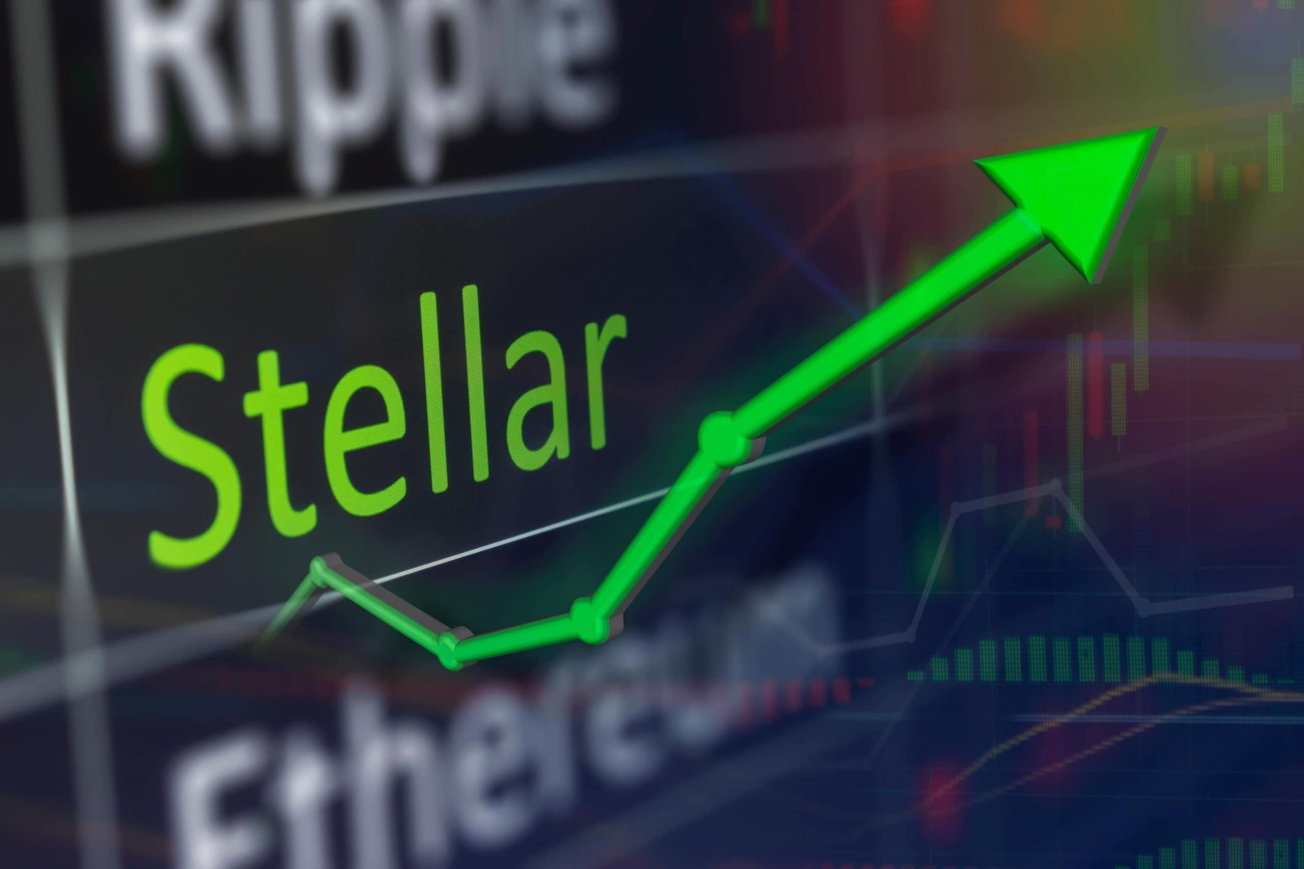 Die Kryptowährungen Ripple, Stellar und Ethereum, die an einer Börse gelistet sind. Stellar ist dabei in grüner Schrift und hat einen abgehenden grünen Kurs, der nach oben zeigt.