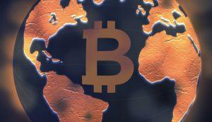 Bitcoin-Logo auf Erdball-Illustration