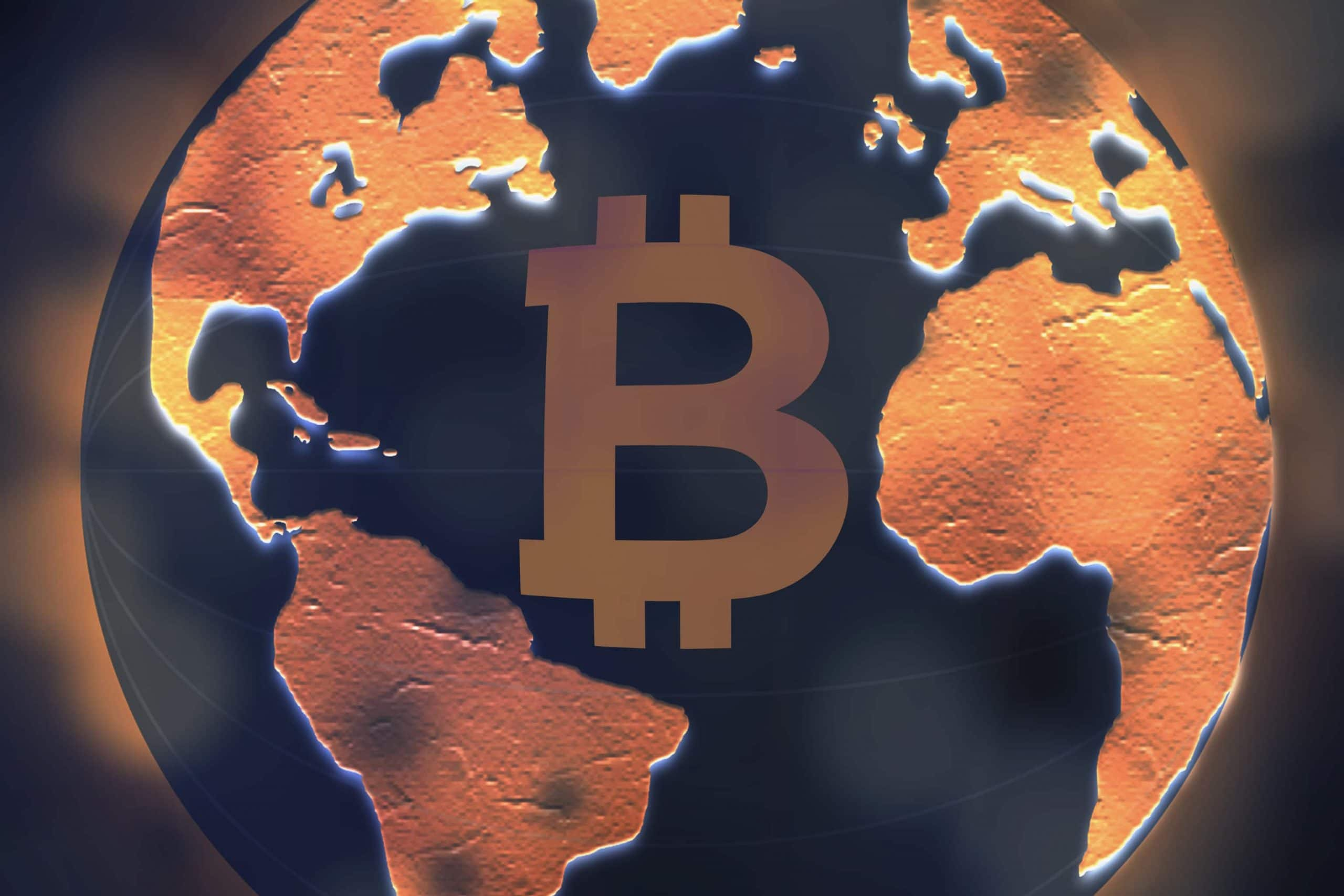 Bitcoin-Logo auf Erdball-Illustration