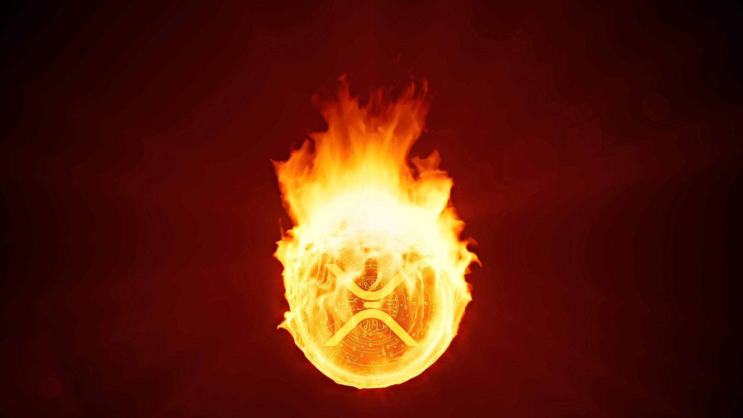 Brennende XRP-Münze