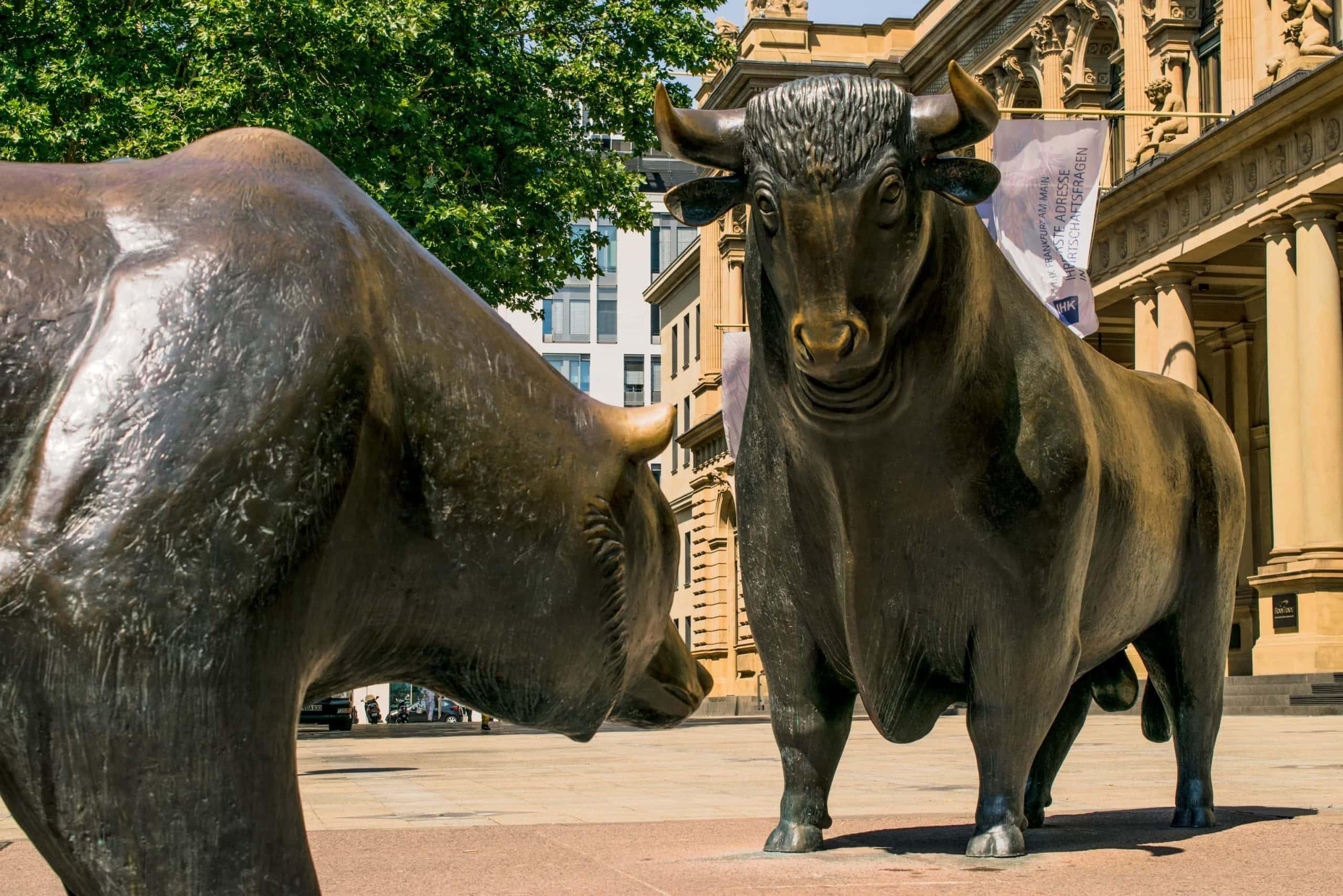 Auf einem Platz stehen sic ein Bär und ein Bulle gegenüber. Diese Metapher soll steigende Kurse (Bär) und steigende (Bulle) verdeutlichen.