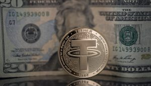 Tether-Coin vor 20-US-Dollar-Note