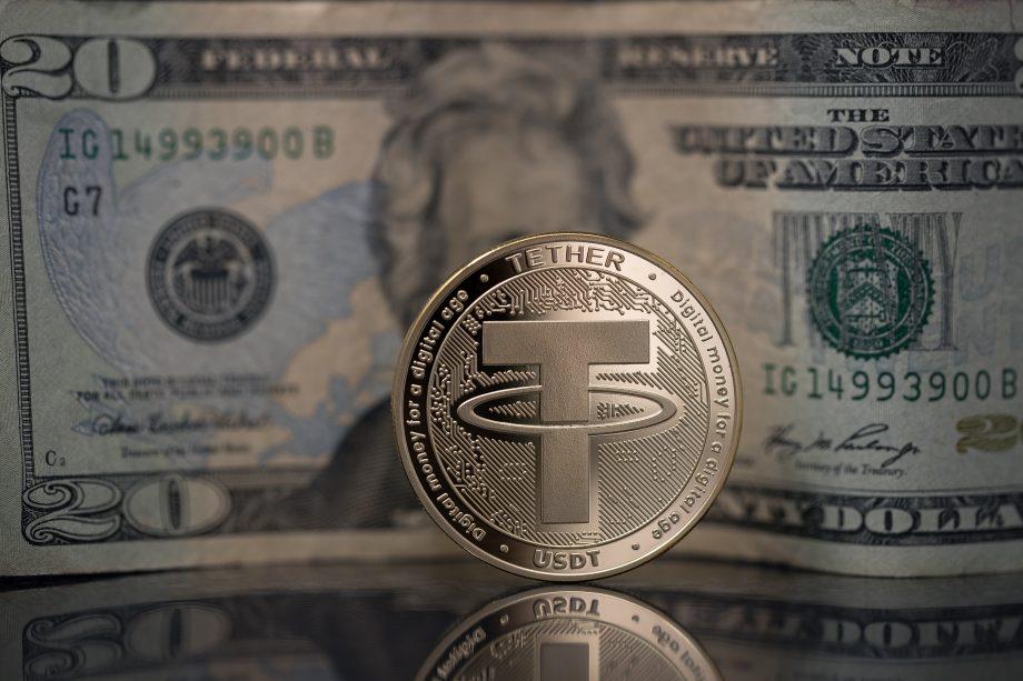 Tether-Coin vor 20-US-Dollar-Note