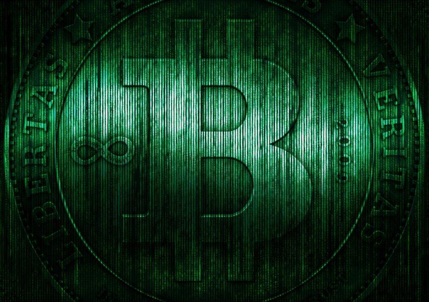 Bitcoin Logo mit einer Matrix
