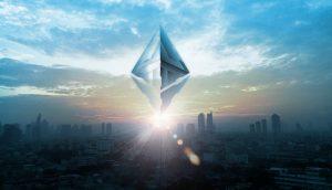 Ethereum-Logo über Skyline einer Stadt