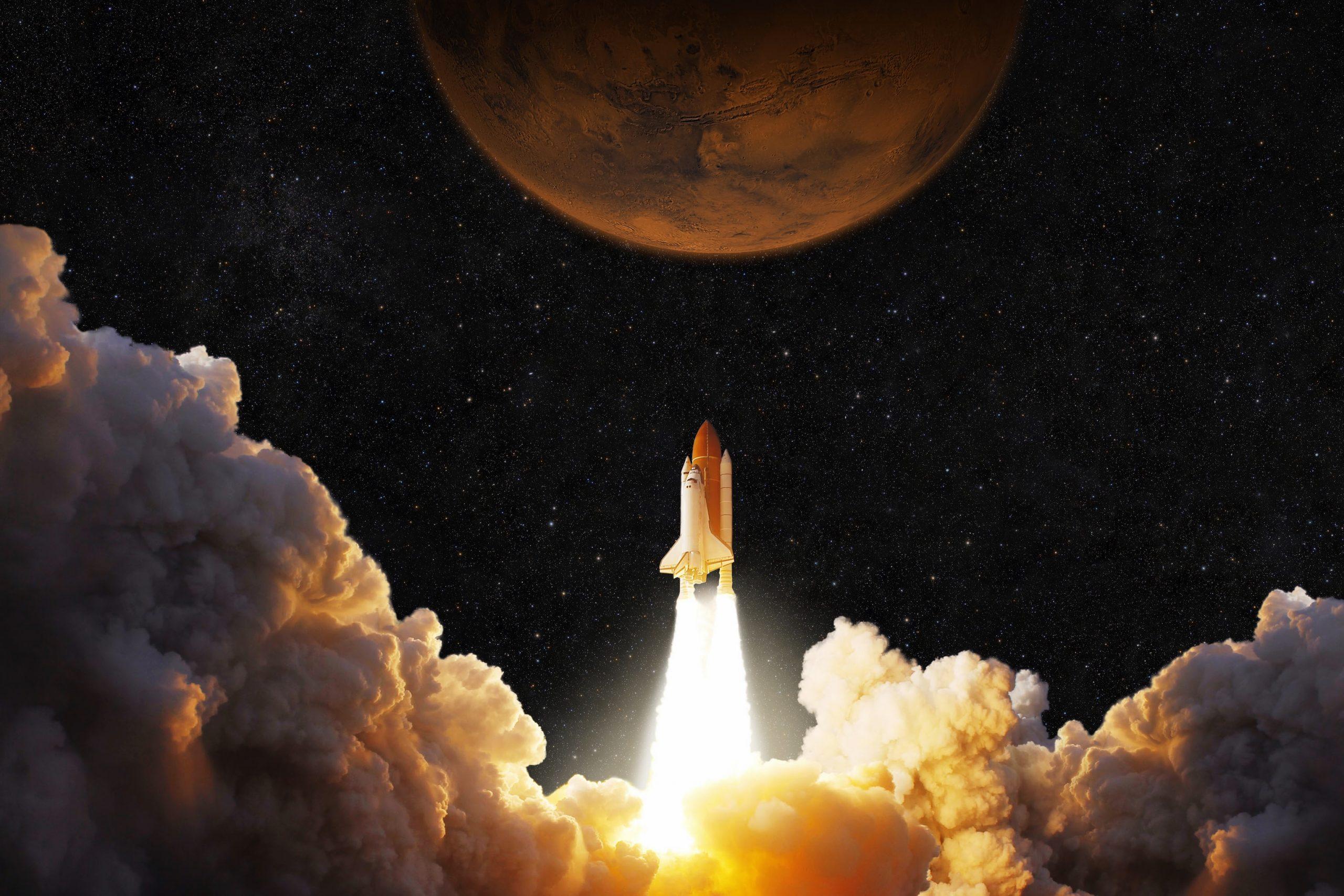 Eine Musk-Rakete startet zu Mars