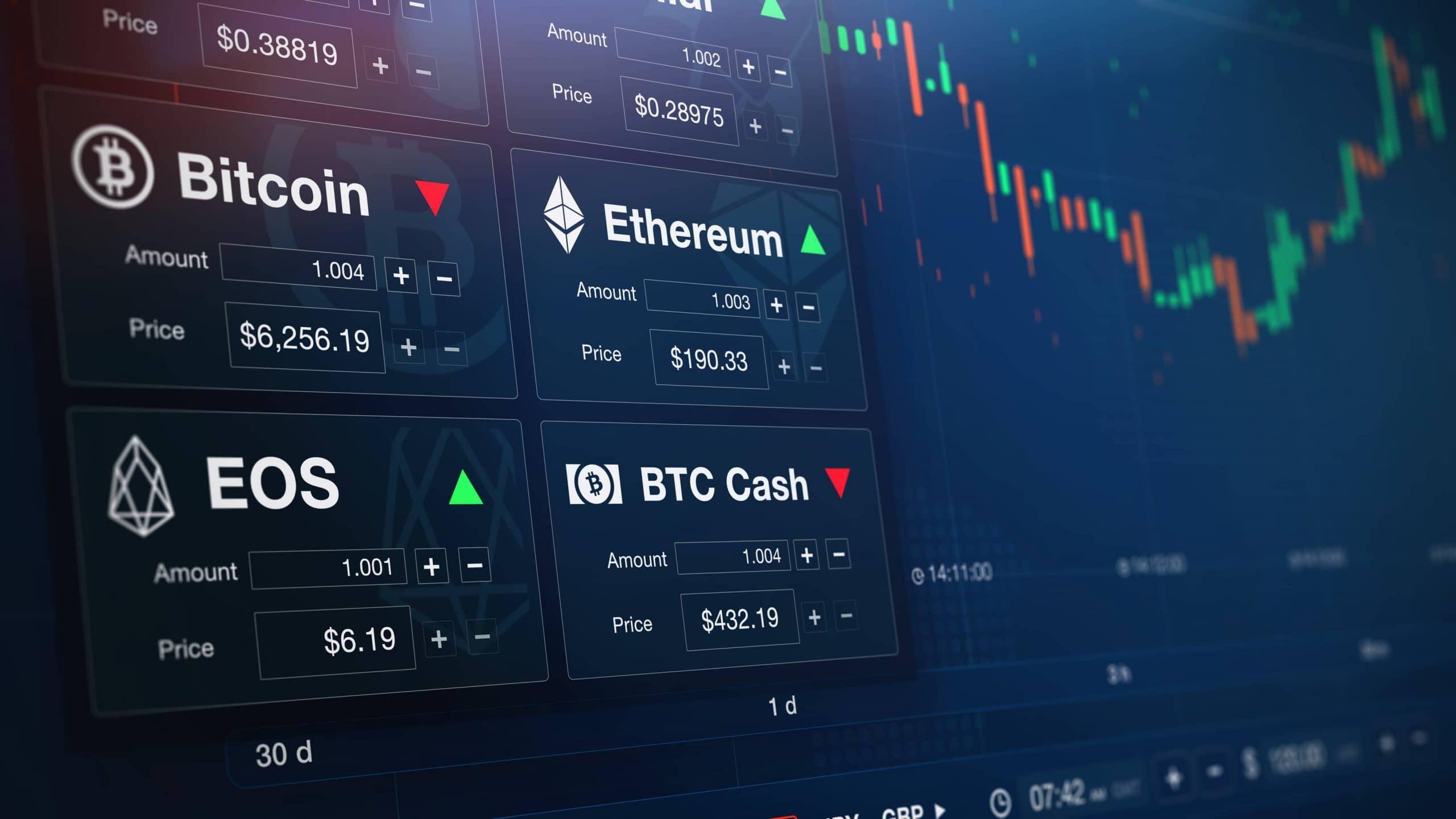 Krypto-Kurse auf einer Krypto-Börse.