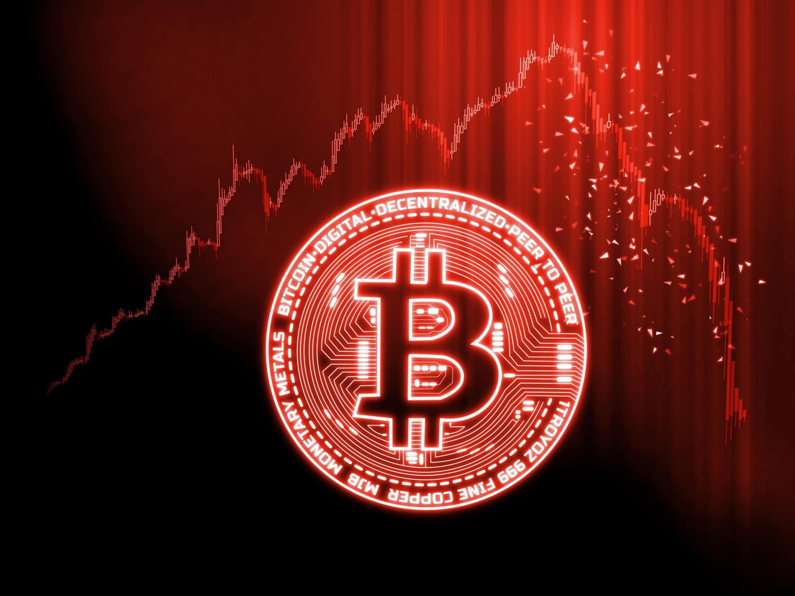 Bitcoin-Münze vor rotem Hintergrund