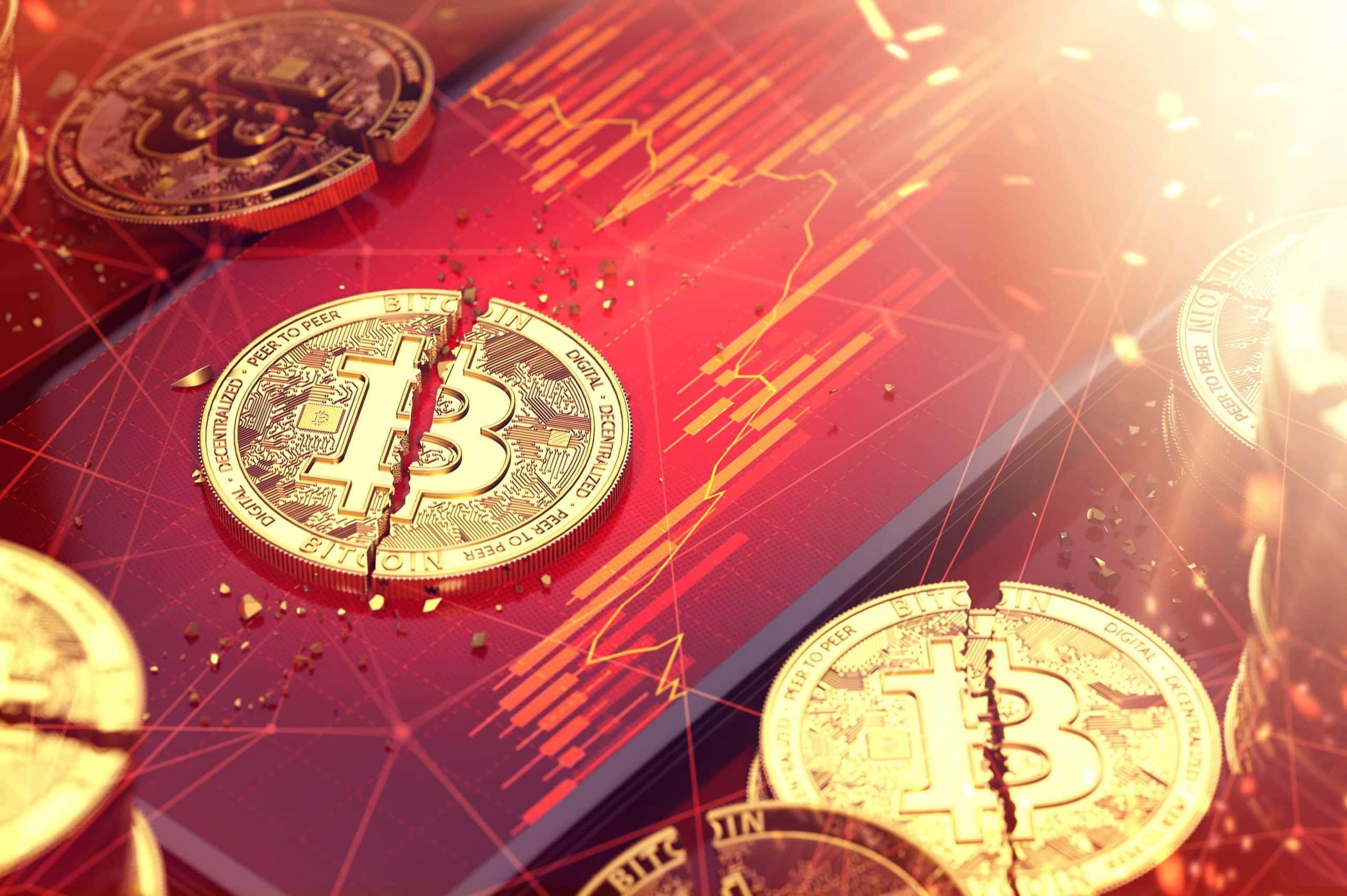 Mehrere zerbrochene Bitcoin auf einem feurigroten Kurs-Untergrund.