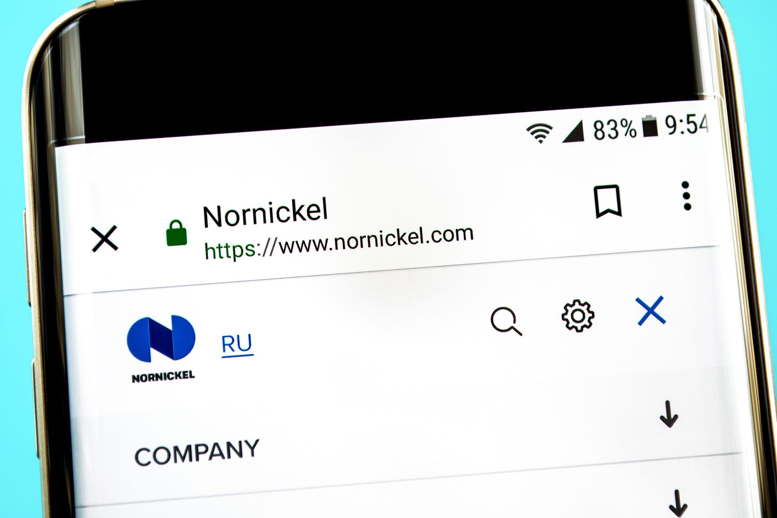 Nornickel auf einem Smartphone