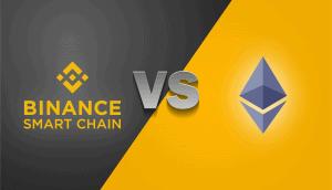 Auf der Grafik sind das Logo von Ethereum, sowie von Binance Smart Chain gegenüberstellt.