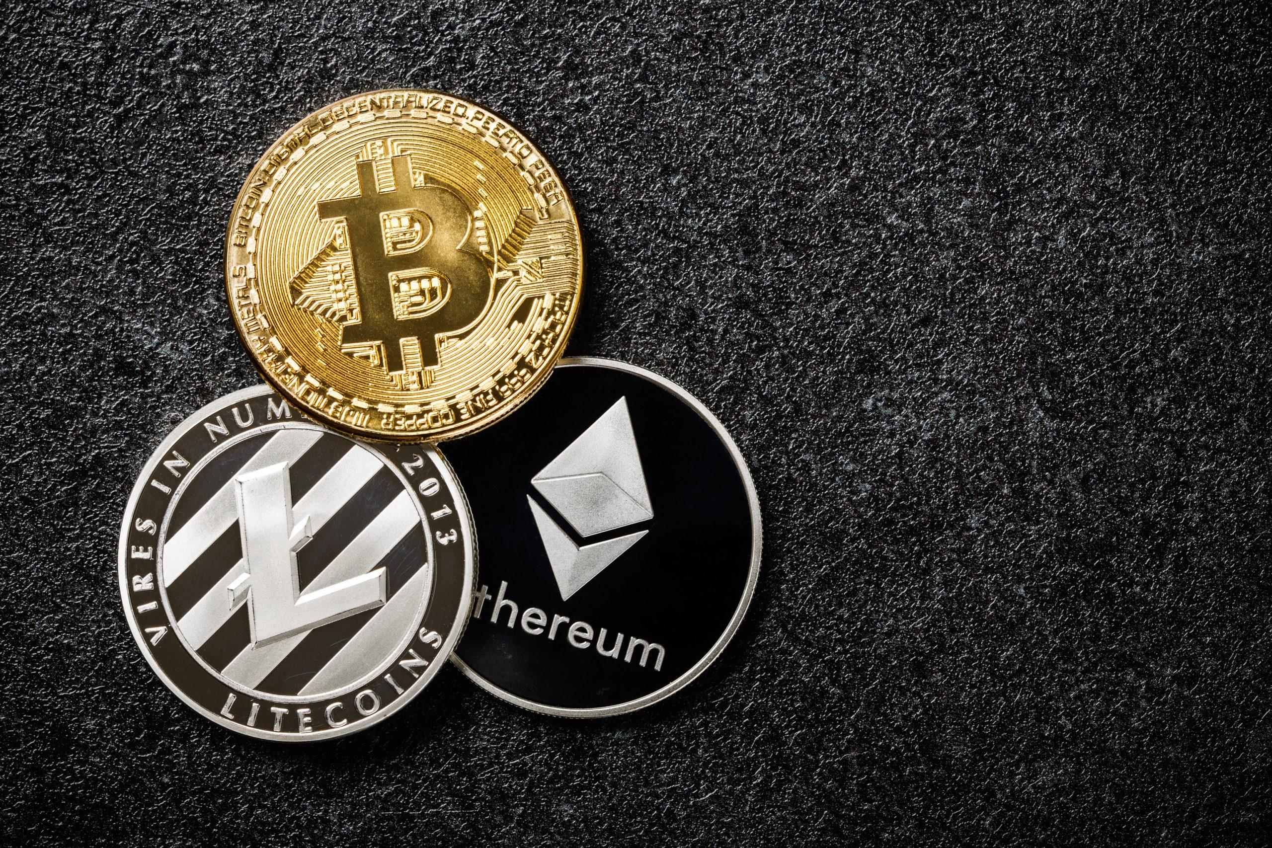 Bitcoin Ethereum und Litecoin Münze