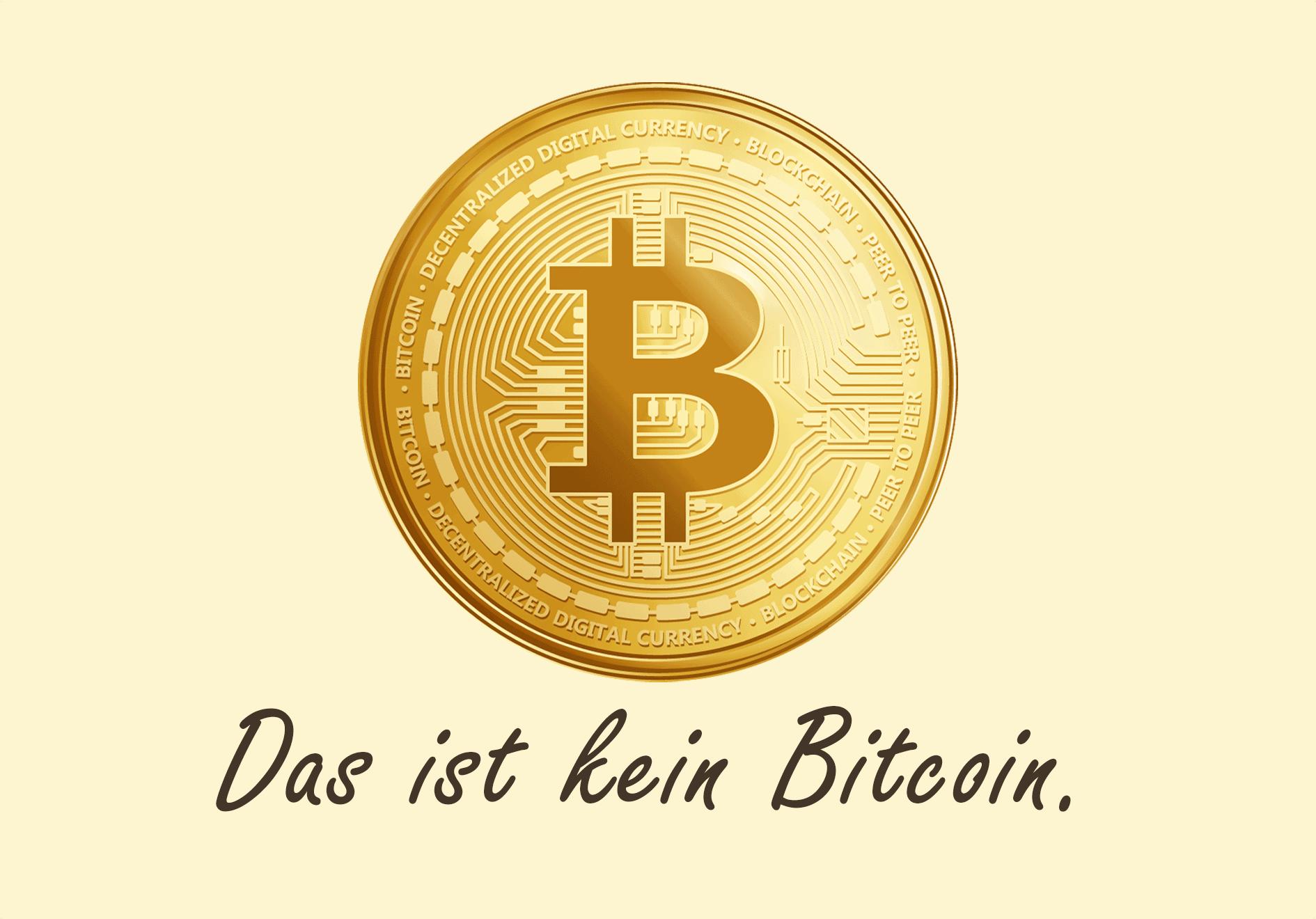 Die Grafik zeigt einen illustrierten Bitcoin mit einer Bildunterschrift.