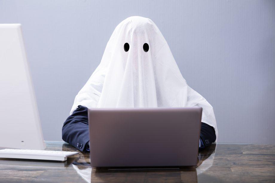 Fantom sitzt an einem Laptop