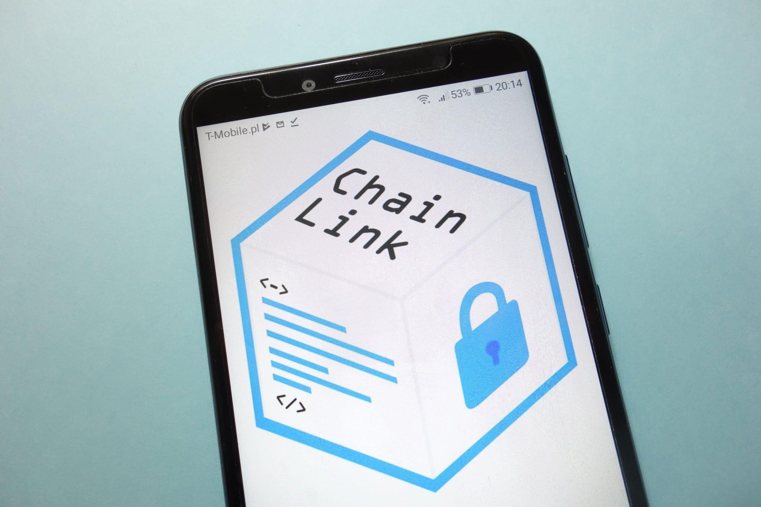 Chainlink-Logo auf Smartphone