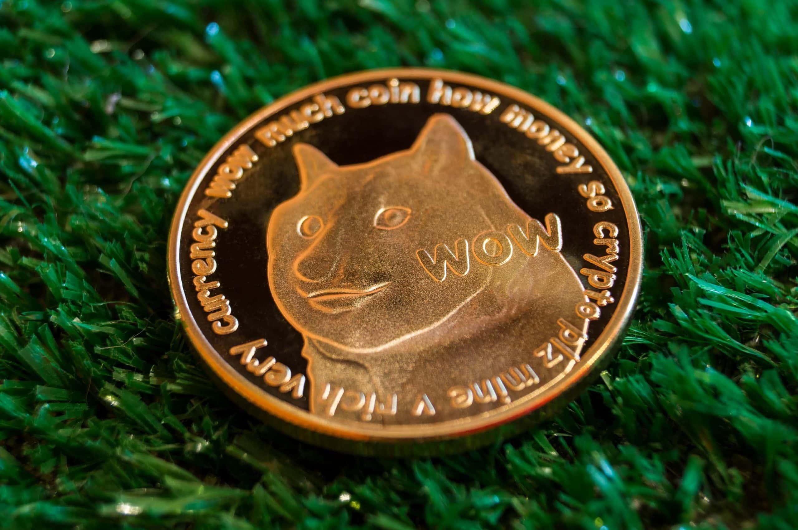 Dogecoin-DOGE-Münze auf Kunstrasen