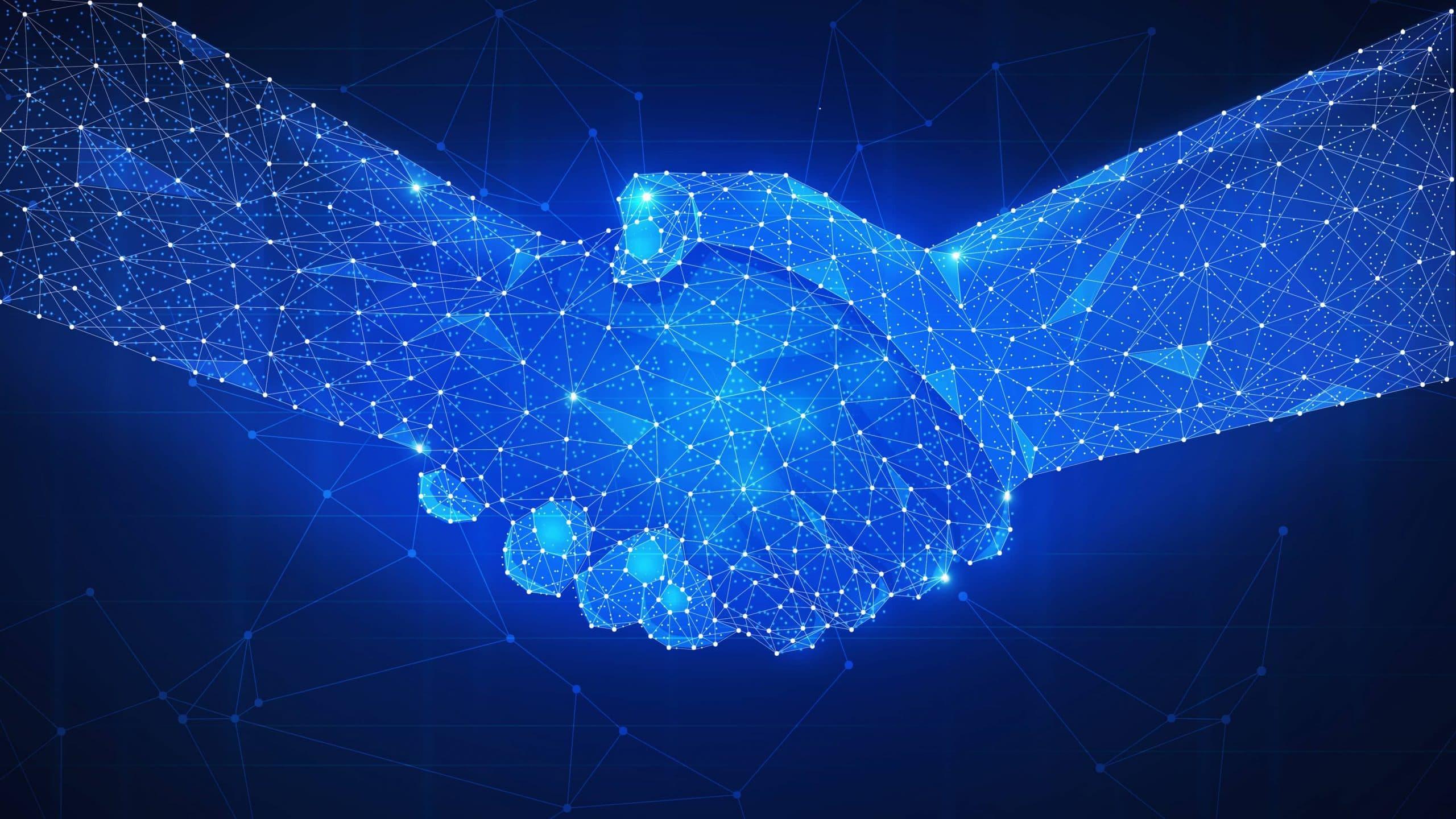 Zwei digitalisierte Hände schütteln sich gegenseitig.