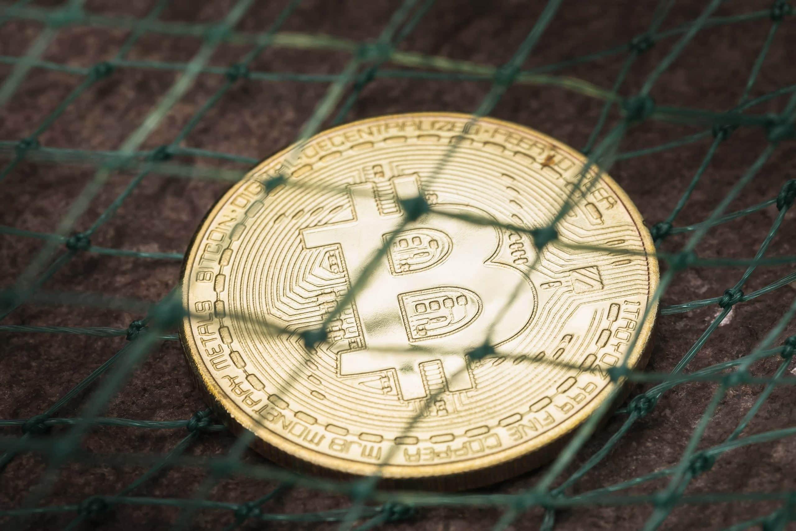 Bitcoin-Münze in einem Netz