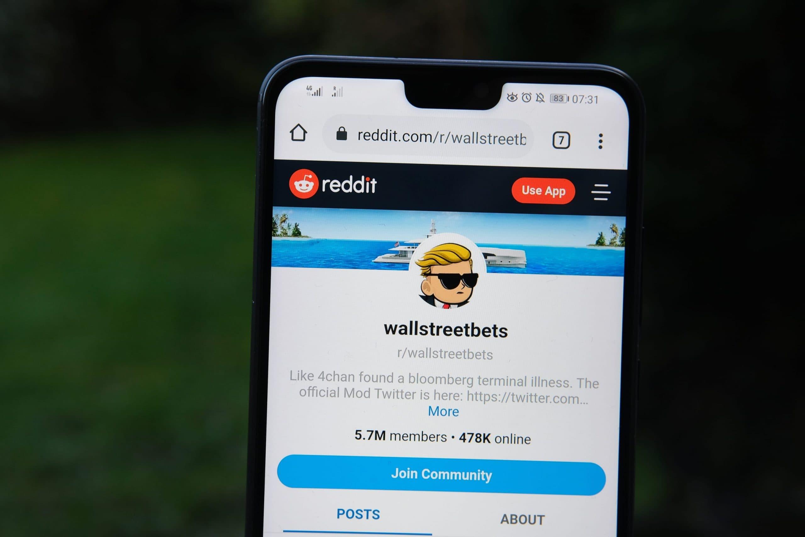 r/wallstreetbets auf einem Smartphone