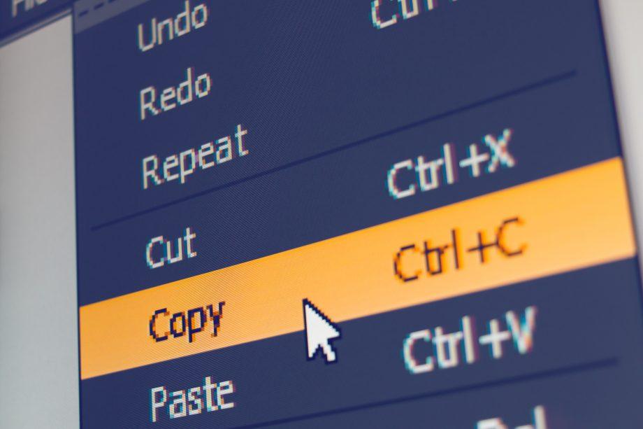 Bildschirm mit Copy-Paste-Symbolen