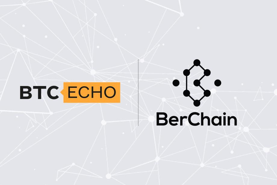 BTC-ECHO Logo und BerChain Logo auf grauem Hintergrund