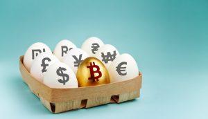 Eier in einem Korb mit unter anderem goldenen Bitcoin Ei