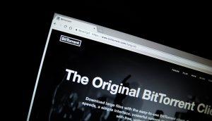 Die Homepage von BitTorrent auf einem schwarzen Hintergrund.