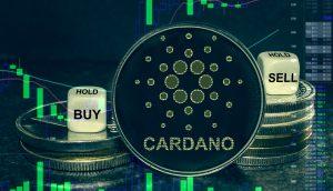 Cardano Münze vor bullishem Chart-Hintergrund