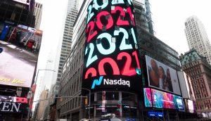 Nasdaq in New York, wo auch der IPO von Coinbase stattfindet.
