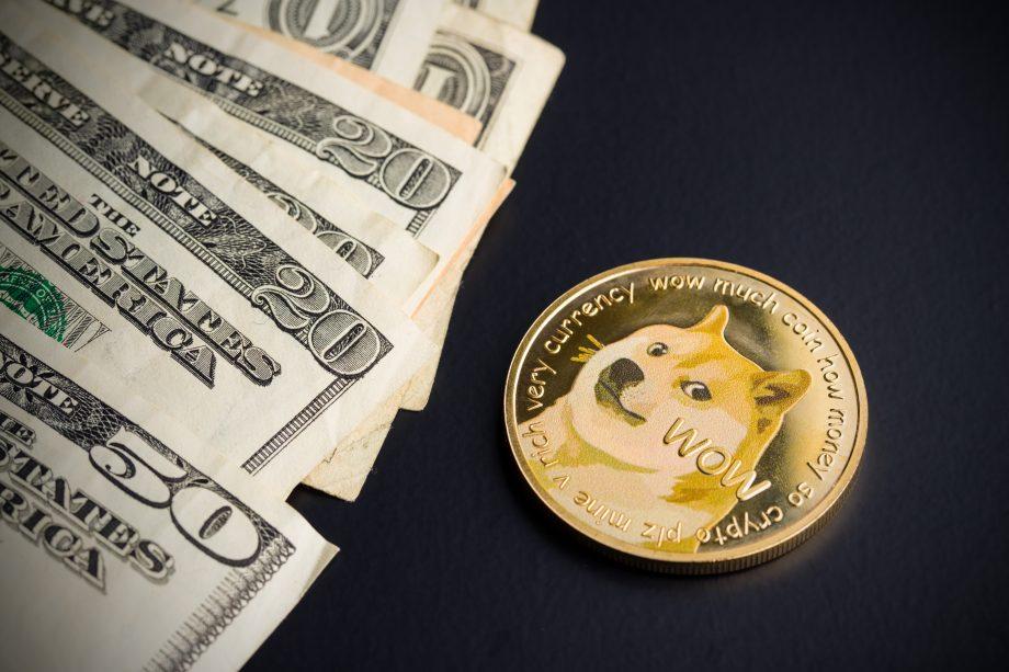 Eine Doge-Münze liegt neben einem Haufen US-Dollar-Scheine.