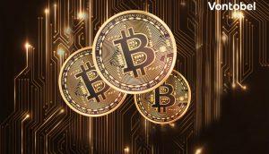 Drei Bitcoin sind im Vordergrund zu sehen. Daneben steht in weißer Schrift: