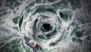 Sog im Meer, das ein Boot in sich reinzieht.