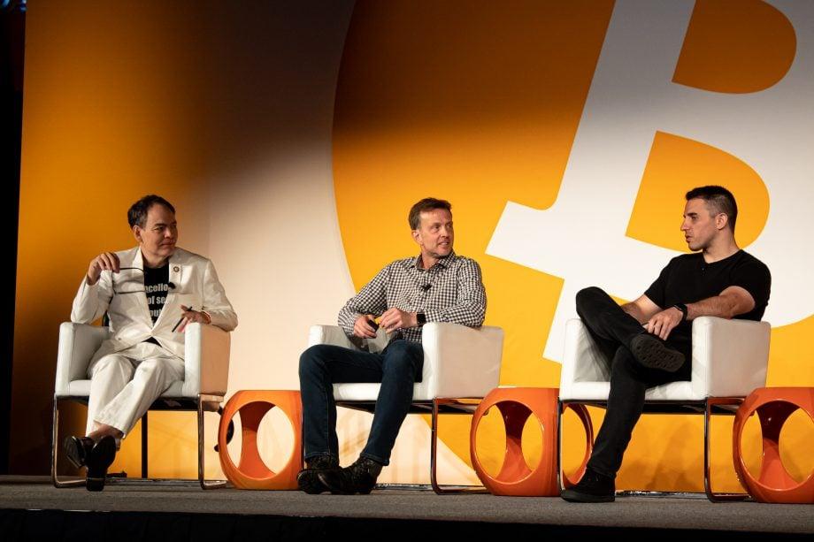 Anthony Pompliaon (r.) 2019 auf einer Bitcoin-Konferenz in San Francisco