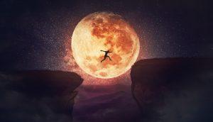 Illustration eines Menschen, der über eine Kluft springt, im Hintergrund der Vollmond