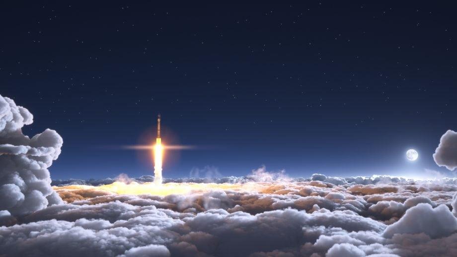 Eine Rakete steigt durch die Erdatmosphäre. Dahinter ist der Mond zu sehen.